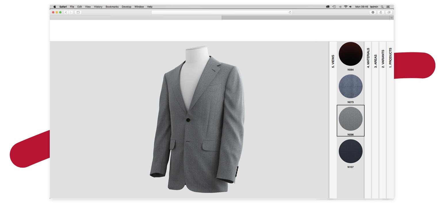 3D Configurator, 3D visual, 3D Suits, Apparel in 3D, Photorealistic 3d visuals, 3D of Dunhill