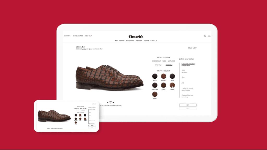 Configurateur produit interactif chaussures Church's