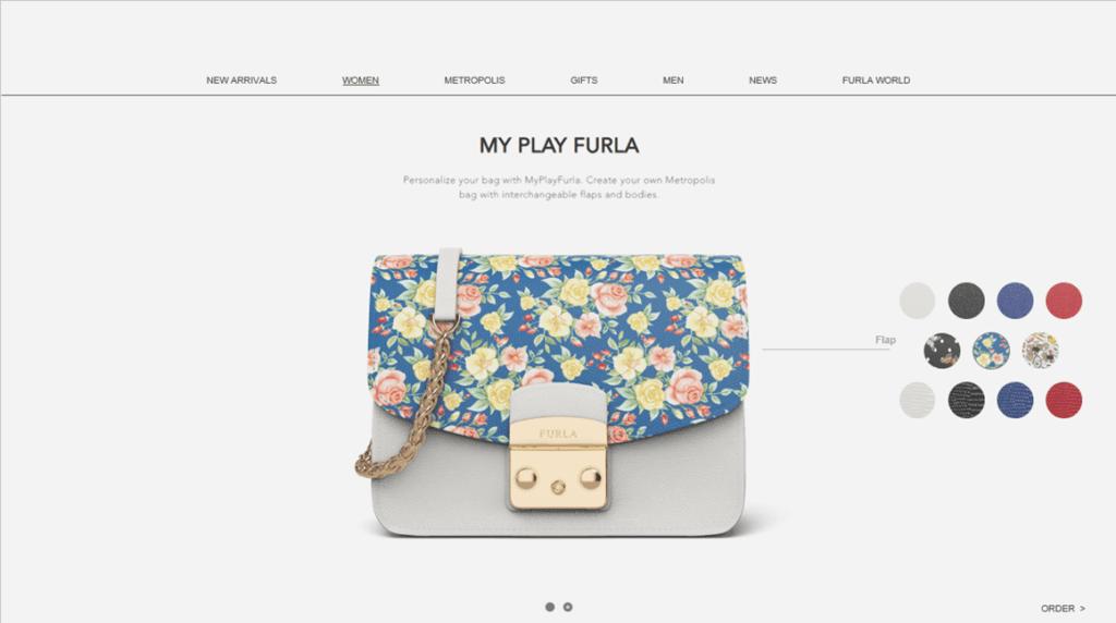 Configurateur produit interactif d'un sac à main Furla